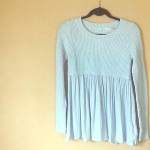 Waffle knit pastel blue sweater